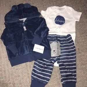 Carter's 3-pc Terry Cloth Sweatsuit Sz 3M